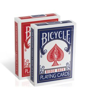 Bicycle playing cards. Sold by the dozen. Poker or pinochle.