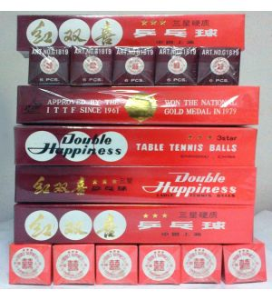 STAR OF CHINA 38mm by Double Happiness, 3 star table tennis balls