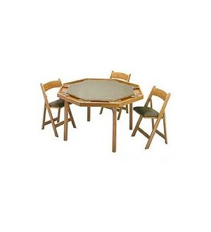 Wooden Folding Poker Table and Chairs