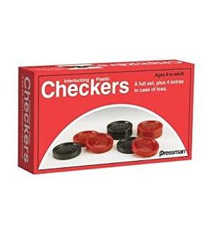 Plastic checkers/backgammon pieces. Red and black.