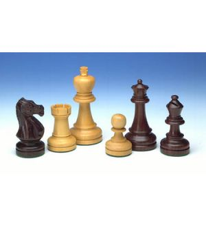 Solid wood weighted chess pieces, 3.75 inch king